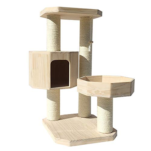 HUDEMR Cat Klettergerüst Katzenhaus aus Holz Multi-Level-Kratzbaum Tower Condo Möbel Kratz Climbing Perches Platform Haustier-Spielzeug (Color : Natural, Size : As pictiure)
