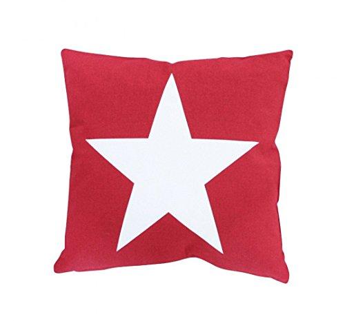 Krasilnikoff funda de cojín rojo, grande Estrella Blanco almohada sofá cojín