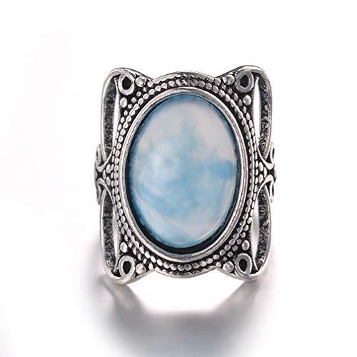 Jixing Türkis Ring Versilbert Oval Edelstein Ring Verlobungsring Ewigkeit Ringgröße 6-10, Zinklegierung, Bildfarbe 6