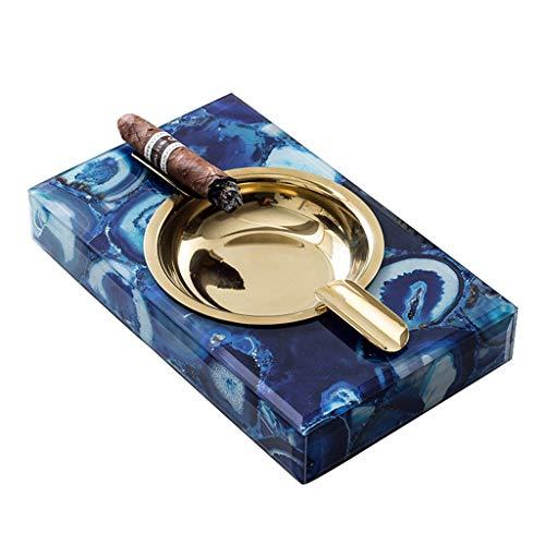 Cenicero De Cigarros Cenicero De Oficina En Casa Cenicero De Alta Gama En La Sala De Recepción Decoración del Hogar (Color : Blue, Size : 21 * 13 * 4CM)