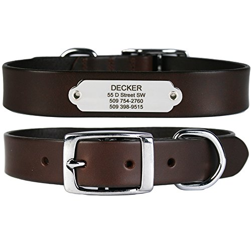 GoTags Leather Dog Collar with Rivet-on Nameplate in Stainless Steel, Personalized Engraved Name Plate ID Tag on Soft, Brown Leather Dog Collar for Small, Medium and Large Dogs, (Light Brown)