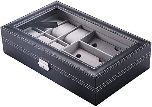 DGPH Negro de Piel Artificial Display Box Hombres y de Mujeres joyería Caja 9 Ranura Caja de Almacenamiento de Vidrio con Cierre a Prueba de Agua Caja de Reloj (9 Ranuras)