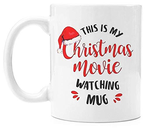 N\A sta es mi Taza de Navidad para Ver películas, novedosos Taza de café de cerámica Blanca Tazas de té para Hombres y Mujeres |