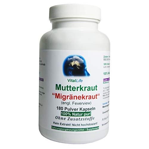 Mutterkraut'Migränekraut' 180 Pulver Kapseln Natur Pur NICHT hochdosiert KEIN Extrakt OHNE...