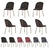 Set of 6 Velvet Dining Chairs with Golden Finish Metal Legs Living Room Chair Dale (Taupe)