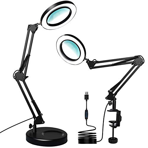 XZN 5-Diopter Magnifying Glass with Light Dimmable 10 Brightness Levels 3 Color Modes, Incl. Clamp, Desktop Base, Metal Frame Lamp with 4.1″ Real Glass Magnifier for Reading, Soldering(Matte Black)