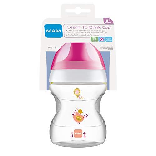 MAM Learn to Drink Trinkbecher (190 ml), Schnabelbecher für erste Trinkversuche, Trinklernbecher mit ergonomischer Form, 6+ Monate, Huhn