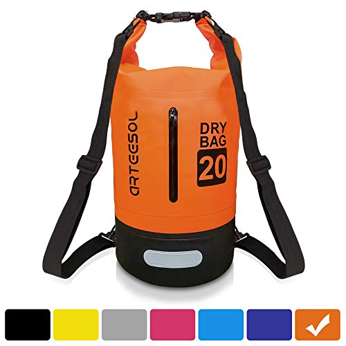 arteesol Dry Bag, Waterproof Dry Bag 5L/10L/20L/30L Backpack with Adjustable Shoulder Strap Perfect for Kayaking/Boating/Canoeing/Fishing/Rafting/Swimming/Camping/Snowboarding (20L, Orange)