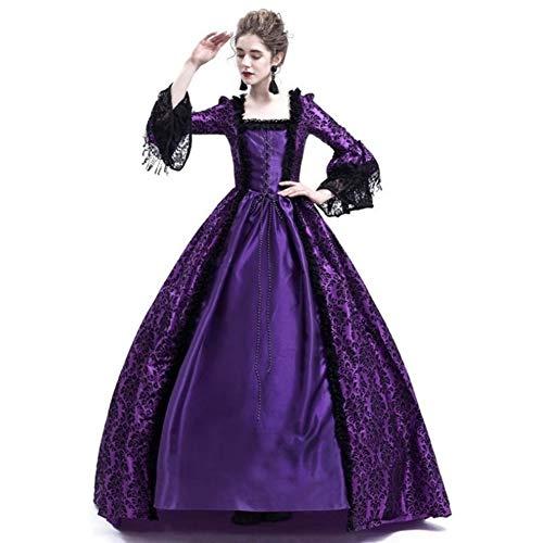 PAOFU-Vrouwen Middeleeuwse Vintage Flared Lange mouwen Jurk, Retro Renaissance Victoriaanse Prinses Jurk Fancy Jurk Party Halloween Kostuum, Volwassene Cosplay Outfit