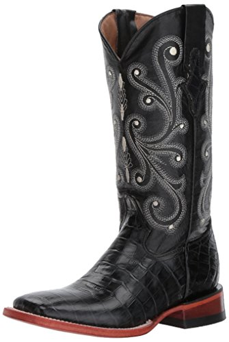 Ferrini Women's Print Alligator S-Toe Western Boot,Black,7.5 B US