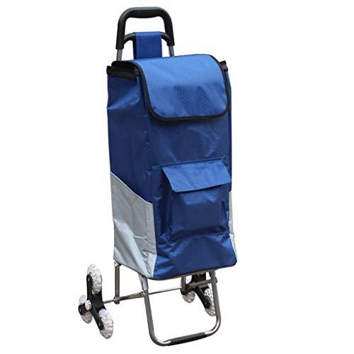 ZFFSC Acero Inoxidable Plegable Compras Ligero Resistente Viejo Cochecito de Subir escaleras pequeño Remolque Shopping Cart (Color : Dark Blue)