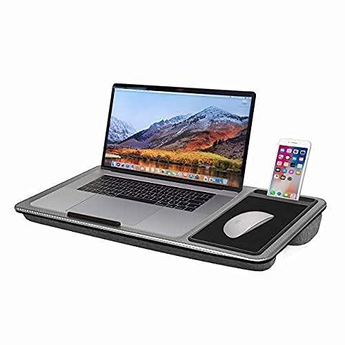 SEFFO Laptopunterlage mit Kissen, Laptop Tisch mit Mauspad und Telefonhalter, für Betten, Sofas & Schreibtische bis zu 17'