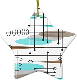 Delia32Agnes Atomic Era Mid-Century Modern Abstract Star Ceramic Christmas Ornaments Novelty Funny for Home Christmas Decorations and Gifts