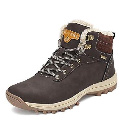 Mishansha Mens Womens Winter Warm Snow Boots Slip On Waterproof Outdoor Casual Walking Hiking Shoes Brown 8.5 Women/7 Men