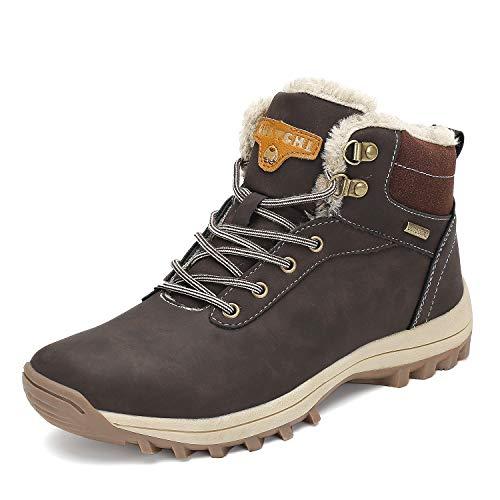 Mens Womens Winter Warm Snow Boots Slip On Waterproof Outdoor Casual Walking Hiking Shoes Brown 10.5 Women/8.5 Men