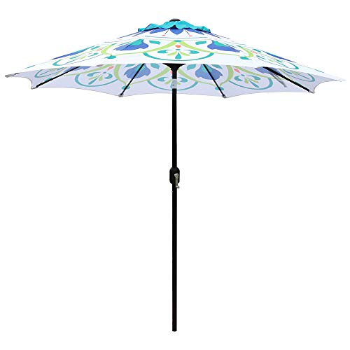 ABBLE 9 Ft Pattern Outdoor Patio Umbrella with Tilt and Crank, Weather Resistant, UV Protective Umbrella, Durable, 8 Sturdy Steel Ribs, Market Outdoor Table Umbrella - Green/White