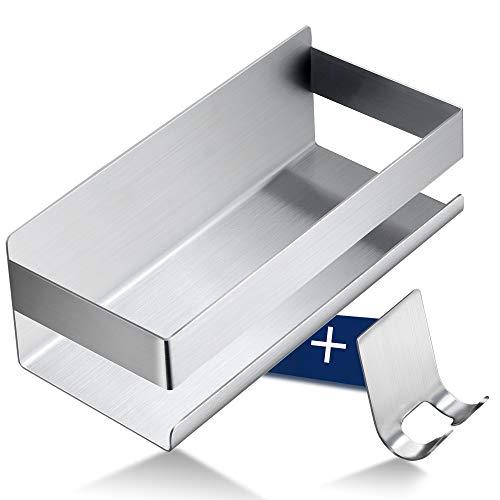 RUICER Duschablage Ohne Bohren - Duschkorb mit Haken Selbstklebend Duschregal Edelstahl für Badezimmer und Küche