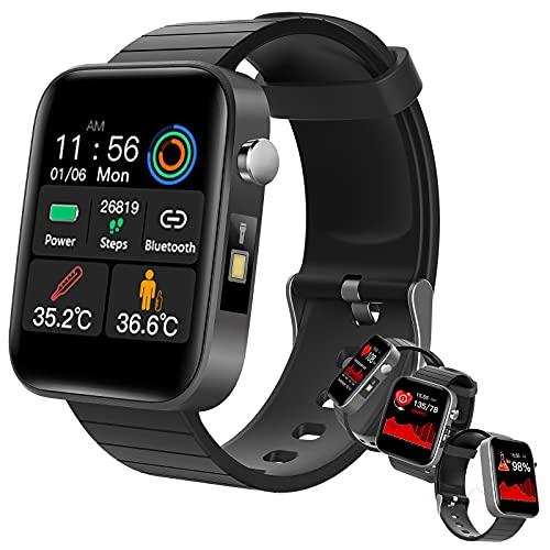 HQPCAHL Smartwatch Reloj Inteligente con Frecuencia Cardíaca/Temperatura/Sueño/Presión Arterial/Oxígeno En Sangre, Reloj Deportivo con Linterna, Pulsera Actividad Inteligente,Negro