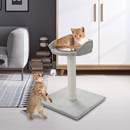 ScratchMe 50.8 cm Kratzbaum Katzen Klein Kratzstamm Stabil mit 1 Spielzeug für Katzen Sisal Tree Condo mit Kratzsäule Plattform Katzenkratz, Pet Spielhaus mit Spielzeug 40 ×40 ×50.8 cm Grau