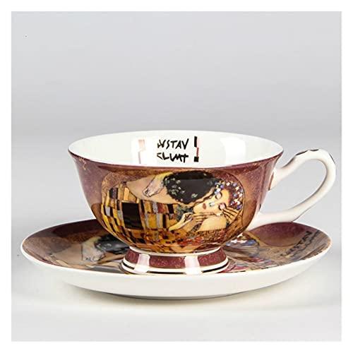 Essinged Tazas de café platillos y ampbone China Set de Calidad Taza de té de la Tarde Regalos de cerámica Té de Burbuja (Capacity : (200ml)
