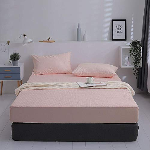 GTWOZNB Luxurious No-Iron Bed Sheet is Breathable- Top Sheet is Oh-So-Soft Waterproof and breathable bedspread for urine isolation-jade stripes_100*200cm