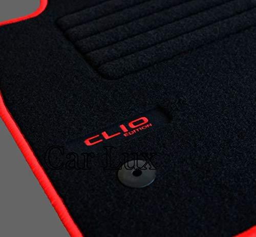 Car Lux - AR02715 - Tapis de voiture, sur mesure, en velours pour Clio IV 4 à partir de 2012, rouge