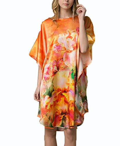 Damen Seiden Pyjama, 100% Damen Seiden Damennachthemd Lang Hypoallergen Kimono Nachthemd Seide Tunika Negligee Chinesische Feinzeichnung,OneColor-OneSize