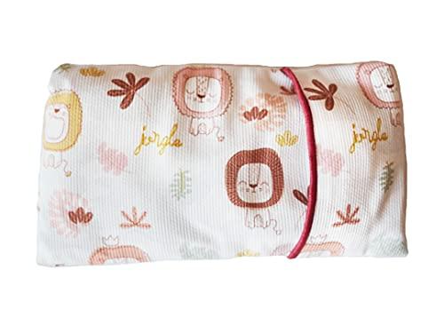 Saco térmico semillas bebé. Saco semillas bebé anticólicos con trigo, flores de lavanda y manzanilla. Cojín térmico bebé con funda extraíble y lavable 100% algodón.(17x10 cm) (Leones)