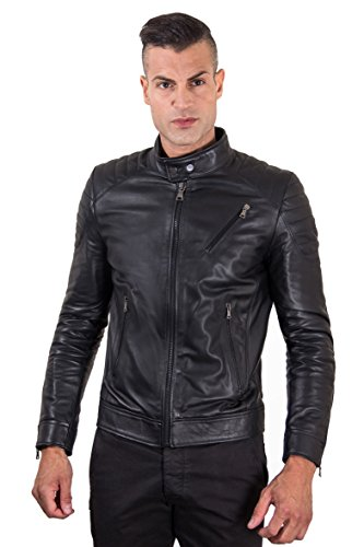 D'Arienzo Lederjacke Herren Echtleder schwarz Italienisch Gesteppt Lederfarben Biker Leder Lammleder Jacke Motorrad U411