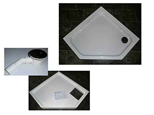 KOMPLETT-PAKET: Duschwanne 100 x 100 cm Fünfeck, superflach 2,5 cm weiß Acryl + Styroporträger/Wannenträger + Ablaufgarnitur chrom DN 90