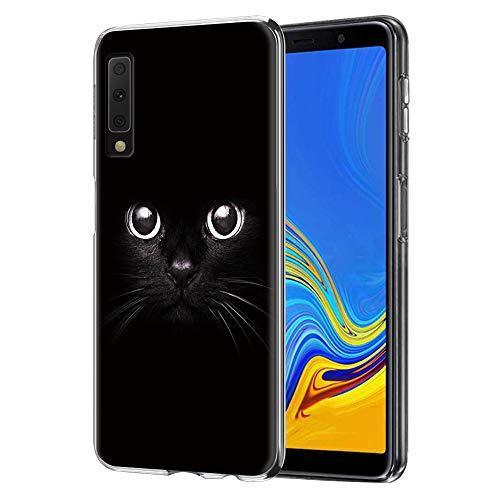 ZhuoFan Samsung Galaxy A7 2018 Hülle, Schutzhülle Silikon Transparent mit Muster Motiv Handyhülle  Ultra Dünn] Stoßfest Weich TPU Bumper Case Backcover für Samsung Galaxy A7 2018 (Schwarze Katze)