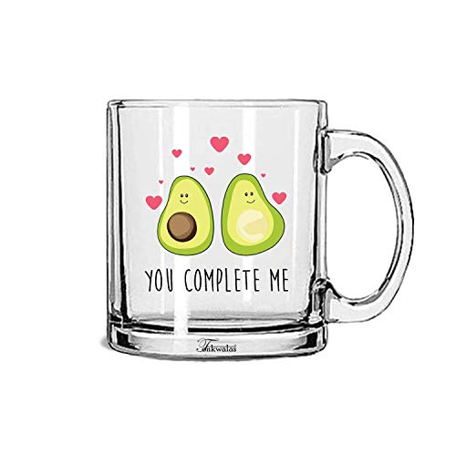 Tonkwalas You Complete Me Avacado Printed Transparent Glass Coffee and Tea Mug Gift for Romantic Valentine's Day, Gift for Couple, Wife, Husband (325 ML)