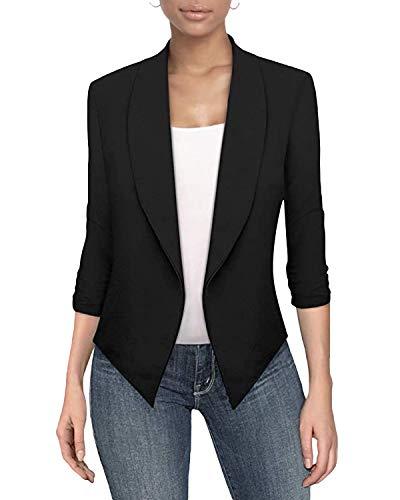 Auxo Donna Blazer Elegante Manica Lunga Tinta Unita Slim Fit Casual Giacche da Abito Gilet 03-Nero S