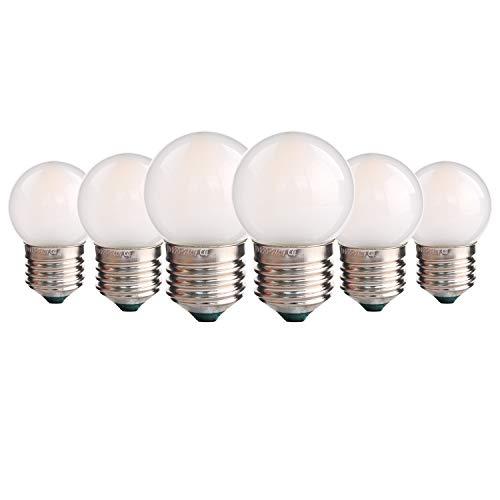 Genixgreen Golf Form LED-Lampe, 1,5 W G40 Mini Globe LED-Lampe E27 Schraubensockel Outdoor String Licht Ersatzlampe für Hochzeitsfeier Hinterhof, warmweiß 2700K, 6er-Set