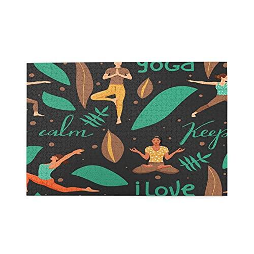 Sierra calar de 1000 piezas,Mujeres en diferentes posturas de yoga.Concepto de yoga y estilo de vida saludable,juegos rompecabezas imágenes para adultos y niños Regalo graduación de boda familiar