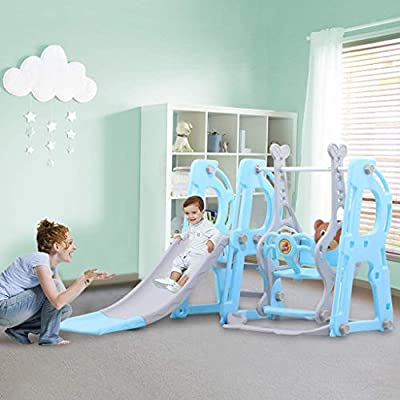 Climber and Swing Set Toddler 3 in 1 Play Slide Climber Indoor Outdoor Playground Toy, Easy Climb Stairs Easy Set Up Baby Kids Playset Game Accessories Activity Center in Indoor & Backyard