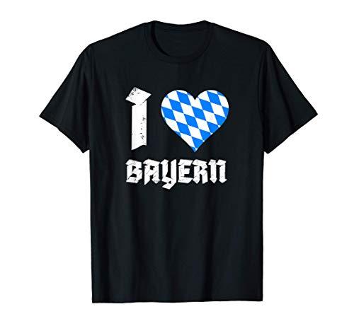 I love Bayern bayerische Fahne Flagge Herz Souvenir Geschenk T-Shirt