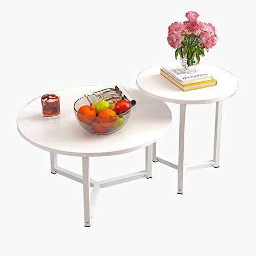 Saladplates-LXM Set van 2 ronde salontafels bijzettafels voor woonkamer nachtkastjes kleine ruimte thuiskantoor, wit/geel
