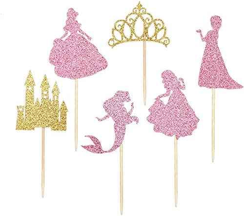 30 pack Glitter Princess Cupcake Toppers Princess Crown Castle Girl Theme Baby Shower Birthday product image