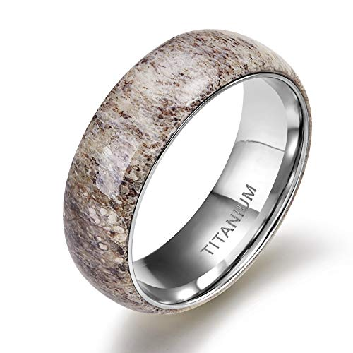 TIGRADE 8mm Titanium Ring Deer Antler Band Men's Wedding Band Size 7-12, Dome, Size 10