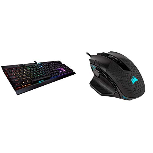 Corsair K70 RGB MK.2 Low Profile Mechanical Gaming Keyboard - Linear & Quiet, Backlit RGB LED & Nightsword RGB - Comfort Performance Tunable FPS/MOBA Optical Ergonomic Gaming Mouse, Black