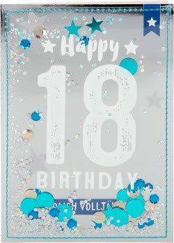 100% glitter verjaardagskaart uitnodigingskaart klapkaart 10496-002: 18 - Happy Birthday eindelijk volledig jaar!