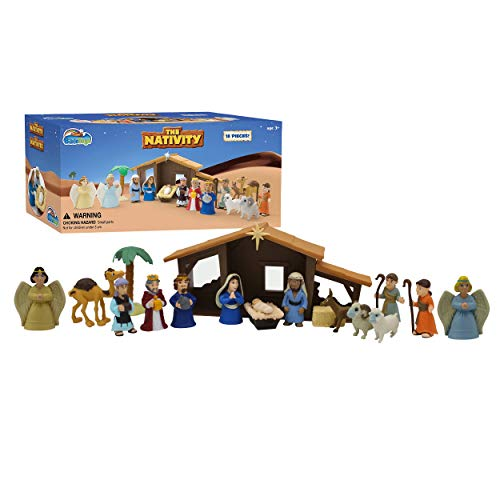 Bible Toys Nativity Set - Christmas Story Manger Scene, 18 Pieces With Birth of Baby Jesus Mini-Storybook (in English & Spanish), Little Animals & Figures Indoor Playset, Children Ages 3 And Up