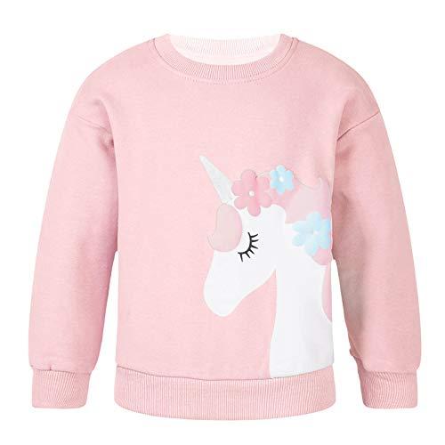 Agoky Sudadera Unicornios Camiseta de Algodón Manga Larga para Niñas Rosa C 2-3 años