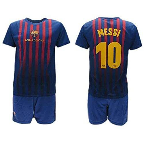 Komplett Offiziell Shirt + Short Fußball Lionel Leo Messi 10 Barcelona Blau Grana Home Saison 2018-2019 Replica OFFIZIELLE mit Lizenz (12 Jahre)