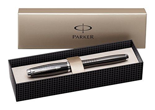Parker Urban Premium - Pluma estilográfica de punta media cromado con caja, color ébano y metal, con grabado