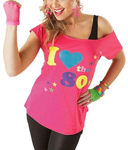 RIDDLED WITH STYLE Donna I Io Amo Gli Anni 80 Pop Star Stravagante rétro T-Shirt Donna Costume Maglia t-Shirt - Rosa, Medium (UK 10-12)