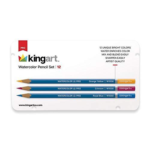KingArt PRO Watercolor Collection Pencils, Set of 12, Unique Colors 12 Piece