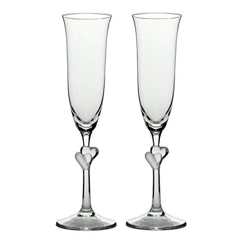 Stölzle Lausitz 388 52 07 - Set di 2 calici da Champagne L'Amour, con Cuore Satinato, 175 ml