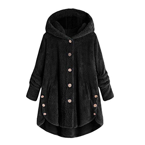 Fashion Women Sexy Button Coat Fluffy Tail Tops Hooded Pullover Loose Sweater Black